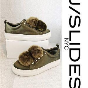 🔥SALE J/Slides NYC Pom Pom Olive Platform Sneaker